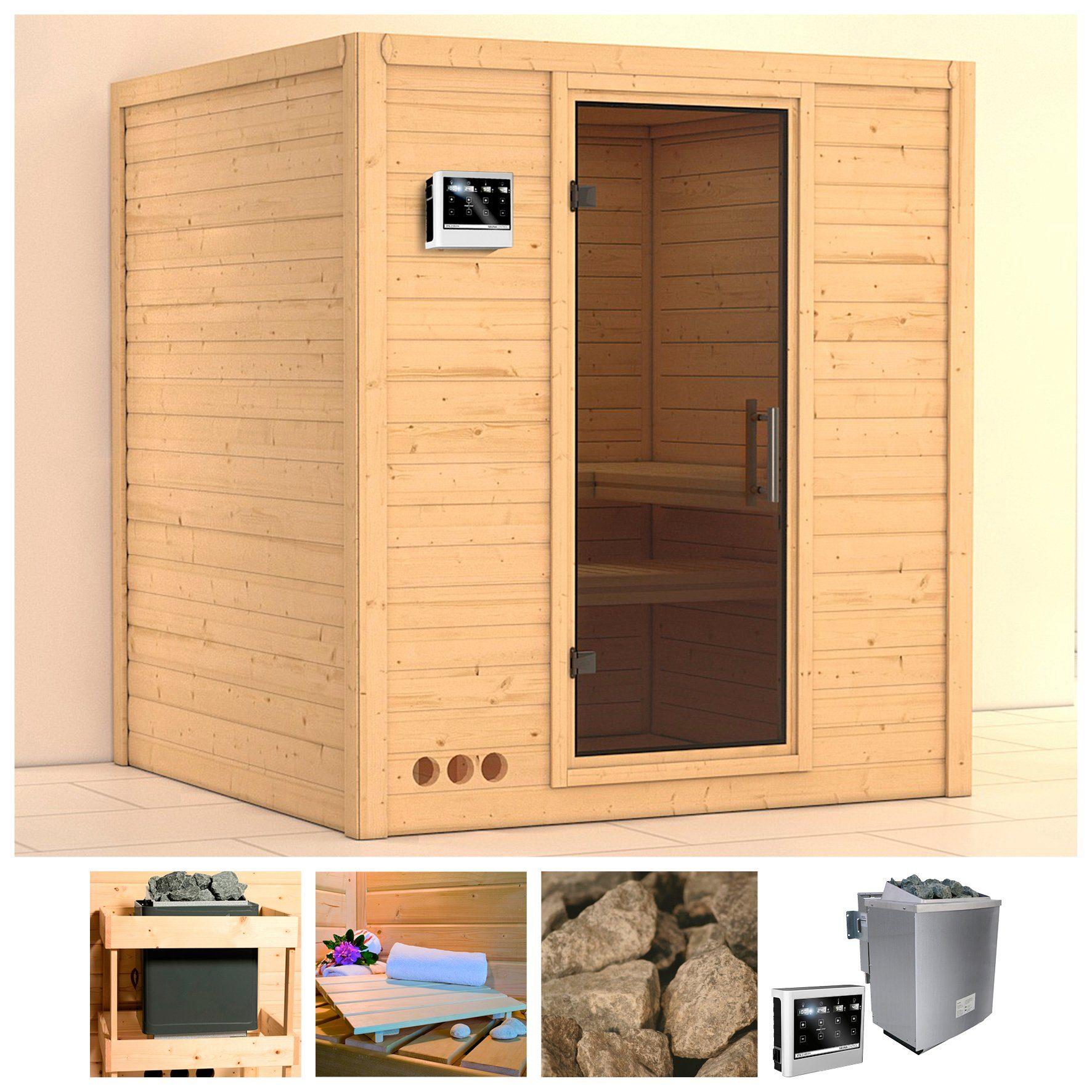 KONIFERA Sauna »Mojave«, 193/184/209 cm, 9-kW-Bio-Ofen mit ext. Strg., Glastür grafit