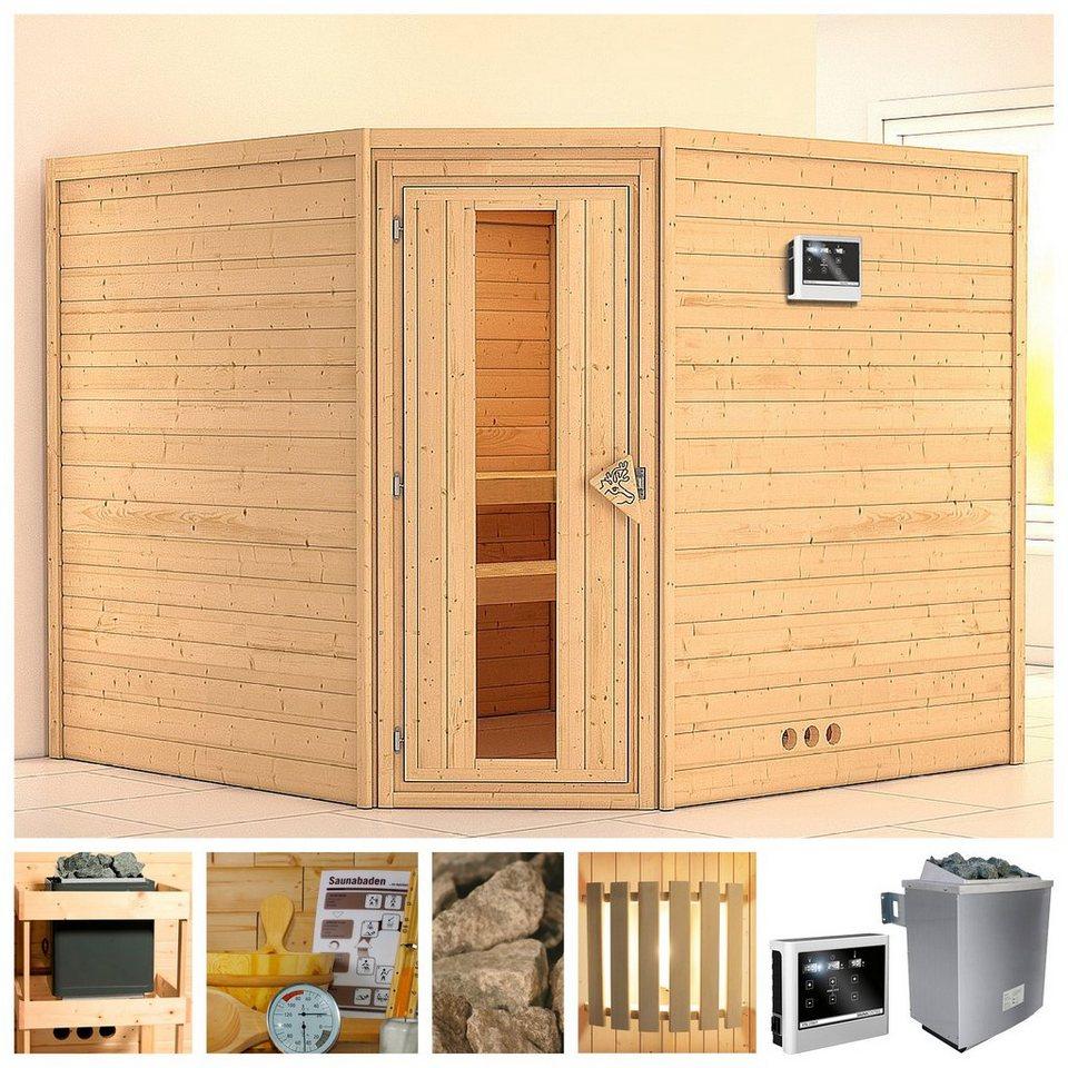 konifera sauna leona 231 231 200 cm 9 kw ofen mit ext steuerung holzt r online kaufen otto. Black Bedroom Furniture Sets. Home Design Ideas