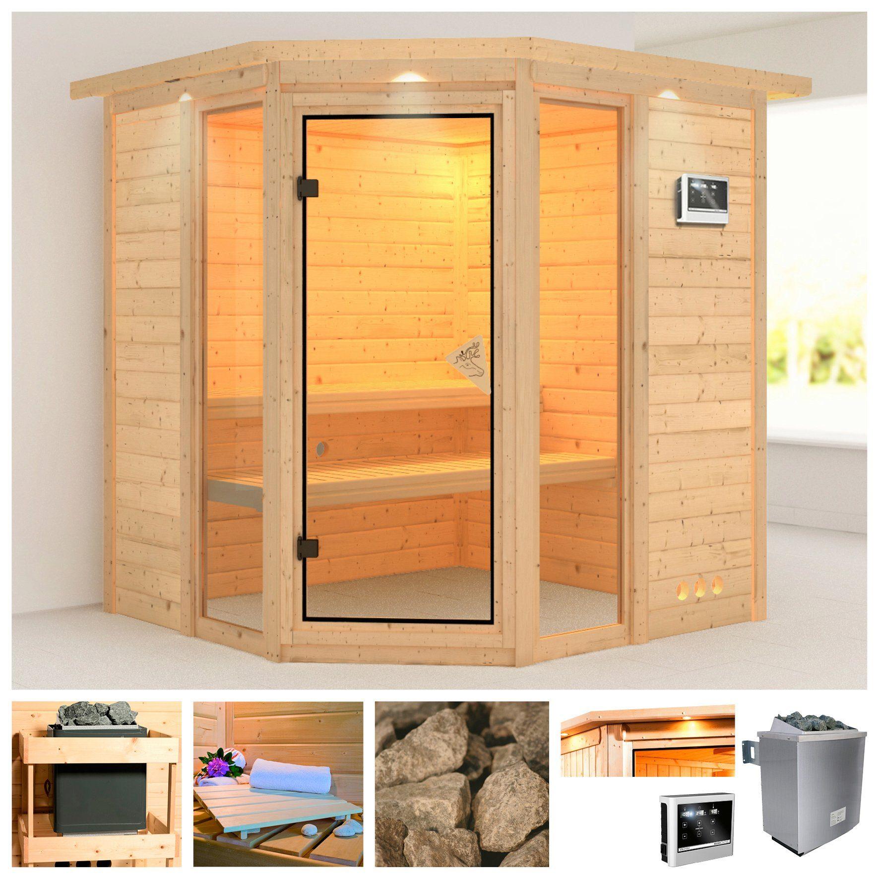 KARIBU Sauna »Sinai 2«, 221/198/212 cm, 40 mm, 9-kW-Ofen mit ext. Steuerung