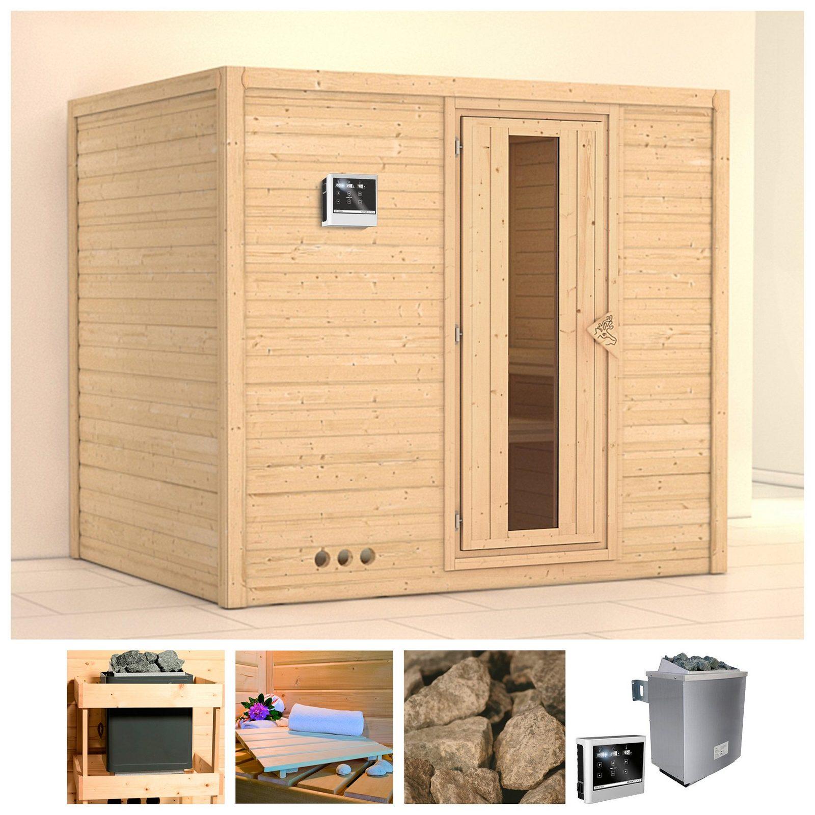 KONIFERA Sauna »Sonara«, 236/184/209 cm, 9-kW-Ofen mit ext. Steuerung, Holztür jetztbilligerkaufen