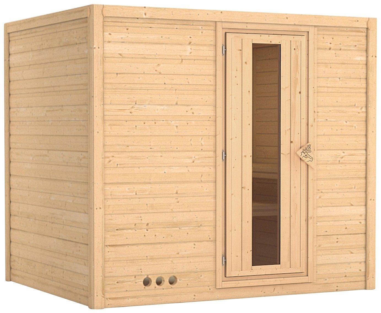KARIBU Sauna »Sonara«, 236/184/209 cm, 9-kW-Ofen mit int. Steuerung, Holztür