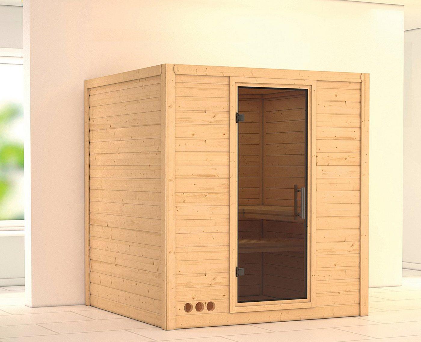 KARIBU Sauna »Mojave«, 193/184/209 cm, ohne Ofen, Glastür grafit
