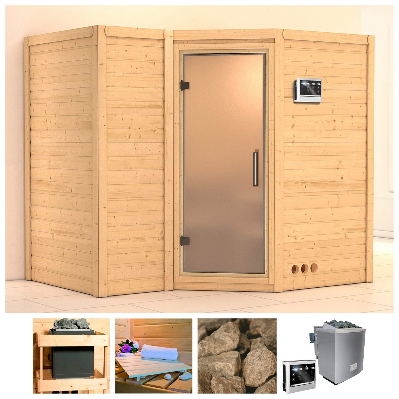 KONIFERA Sauna »Sahib 2«, 236/184/206 cm, 9-kW-Bio-Ofen, ext. Strg., Glastür satiniert - broschei