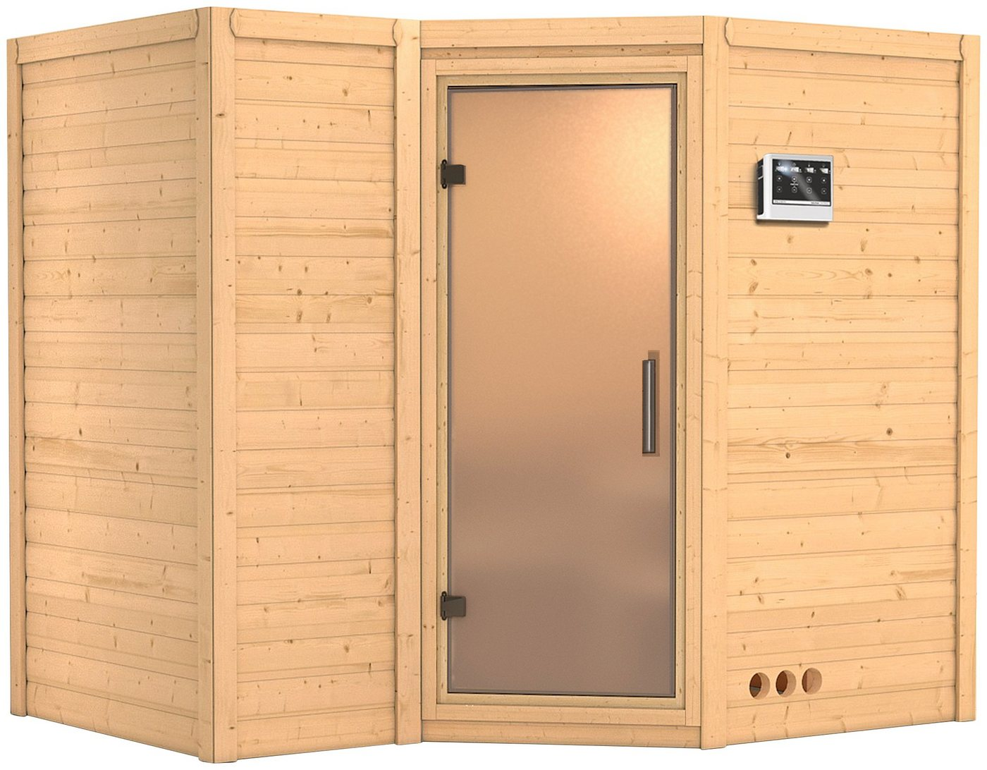 KARIBU Sauna »Sahib 2«, 236/184/206 cm, 9-kW-Bio-Ofen, ext. Strg., Glastür satiniert