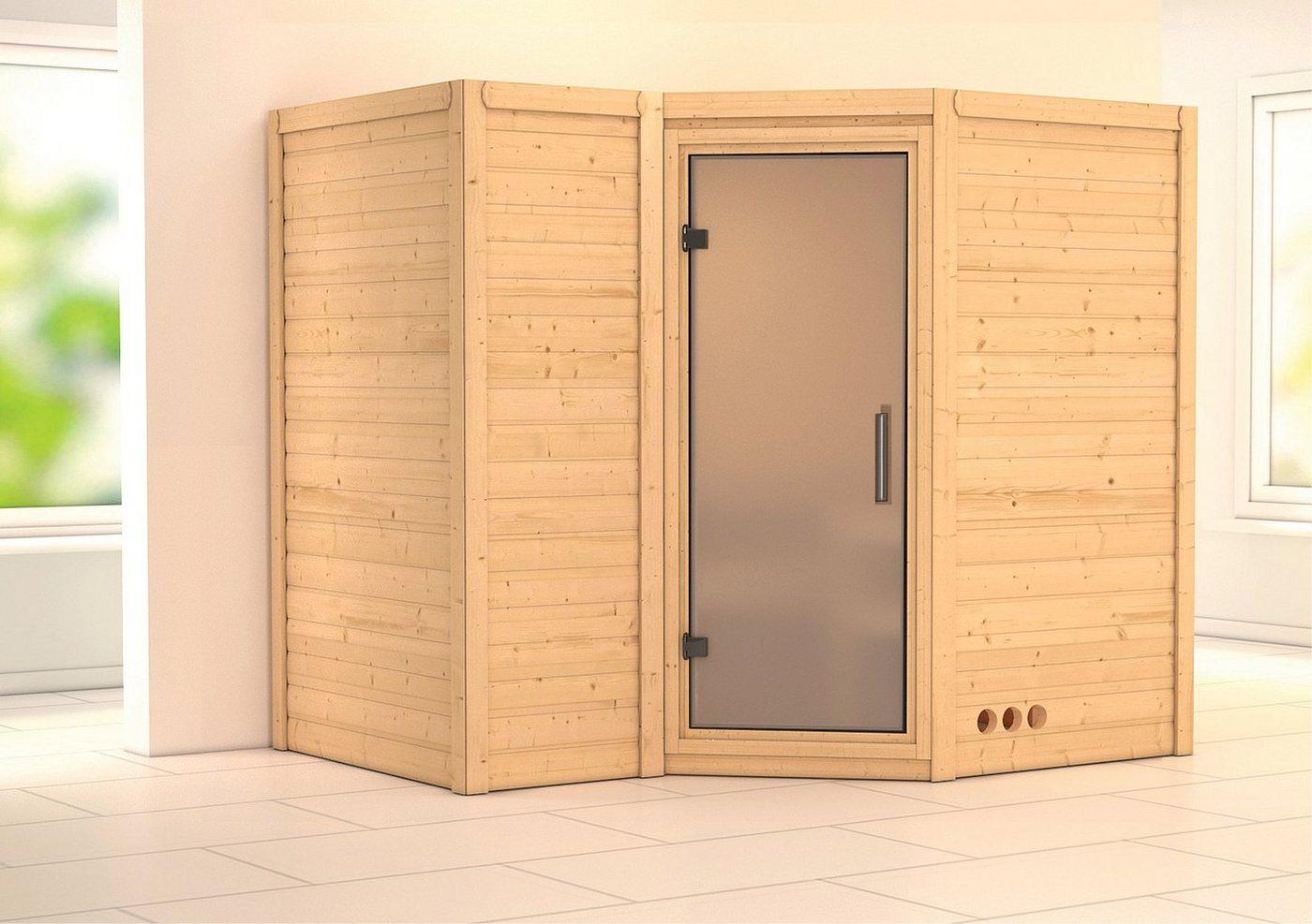 KONIFERA Sauna »Sahib 2«, 236/184/206 cm, 9-kW-Ofen, int. Steuerung, Glastür satiniert