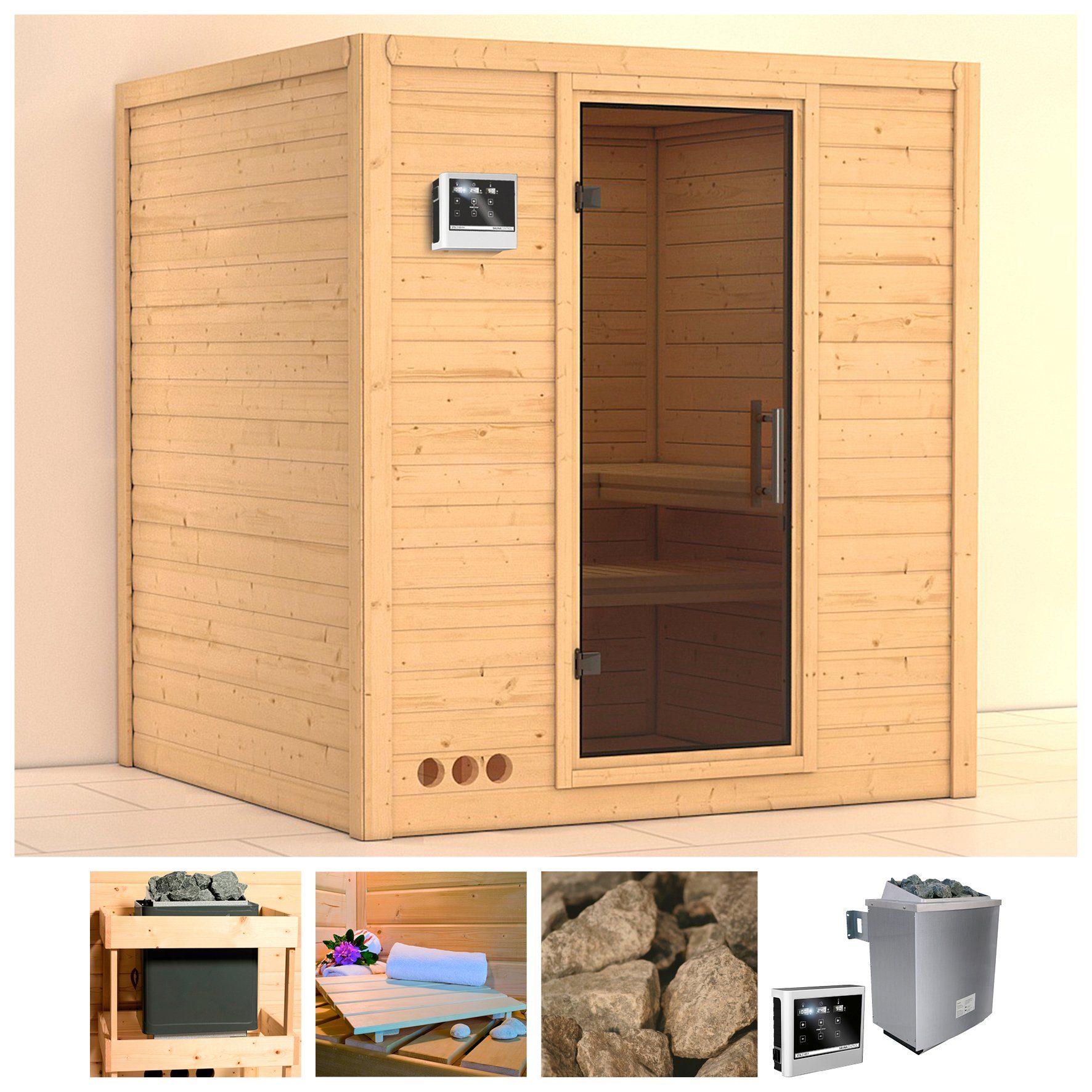 KONIFERA Sauna »Mojave«, 193/184/209 cm, 9-kW-Ofen mit ext. Steuerung, Glastür grafit