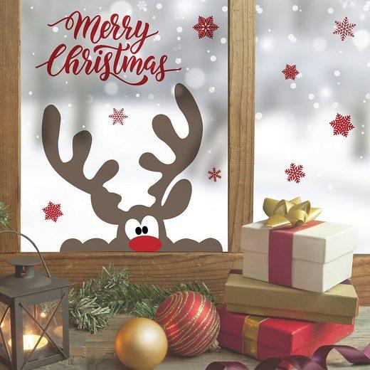 Wand- und Fenstersticker, Rentier Merry Christmas, 13-tlg.