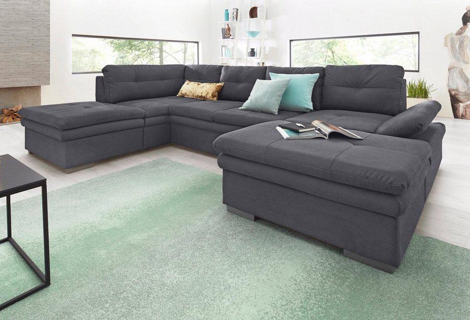 wohnlandschaft mit sitztiefenverstellung und bettfunktion latribuna. Black Bedroom Furniture Sets. Home Design Ideas
