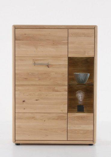 DECKER Highboard »DERVIO«, aus Massivholz, mit Glaseinsatz, Breite 98 cm