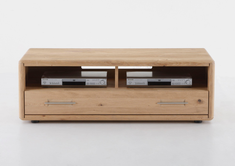 massivraum Lowboard »DERVIO« aus Massivholz, mit einer Schublade und zwei Nischen, Breite 128 cm