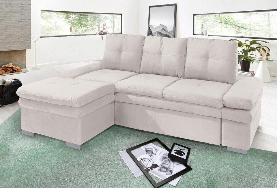 cotta ecksofa mit recamiere sitztiefenverstellung und wahlweise mit bettfunktion online kaufen. Black Bedroom Furniture Sets. Home Design Ideas