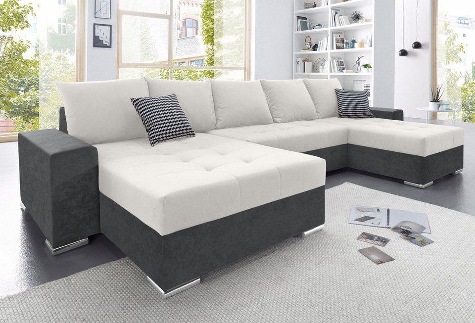 collection ab wohnlandschaft mit 4 r ckenkissen und xl recamiere online kaufen otto. Black Bedroom Furniture Sets. Home Design Ideas
