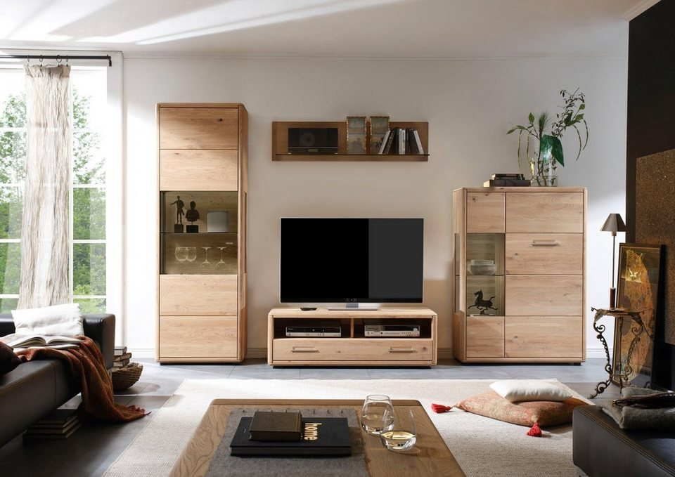 massivraum wohnwand dervio aus massivholz 4 tlg online kaufen otto. Black Bedroom Furniture Sets. Home Design Ideas