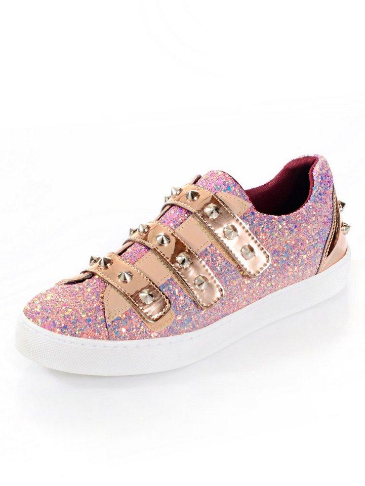 Damen Alba Moda Sneaker mit Glitzer-Effekt und Nieten rosa | 04055715400863