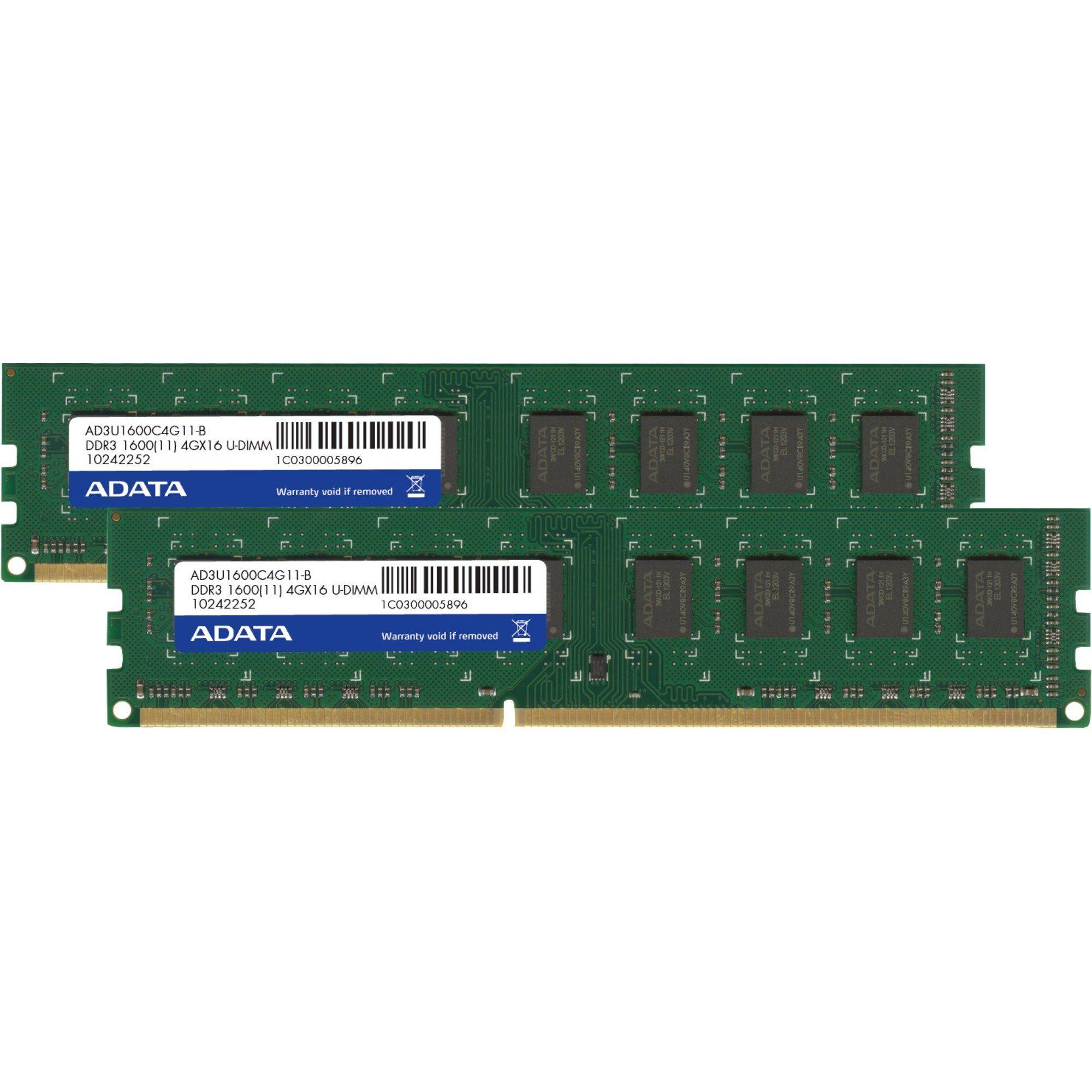 ADATA Arbeitsspeicher »DIMM 8 GB DDR3-1600 Kit, AD3U1600W4G11-2, Premier«