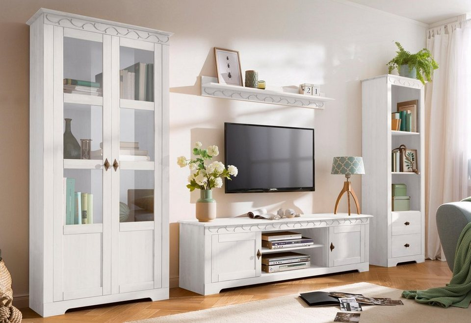 Home affaire 4-teilige Wohnwand »Laura«, mit 1 Vitrine 2trg., 1 TV ...