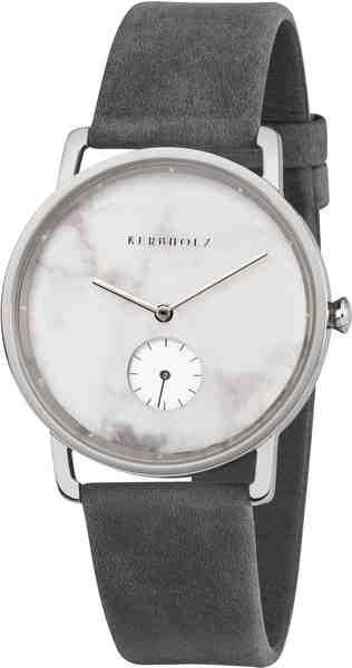 KERBHOLZ Quarzuhr »Frida Weißer Marmor / Silber / Asphaltgrau«, mit kleiner Sekunde