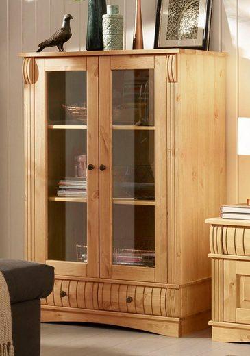 Home affaire Vitrine »Teresa« mit 2 Glastüren und 2 Schubladen, Höhe 120 cm