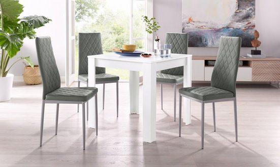 Essgruppe, (Set, 5-tlg), mit Tisch in Weiß, Breite 80 cm