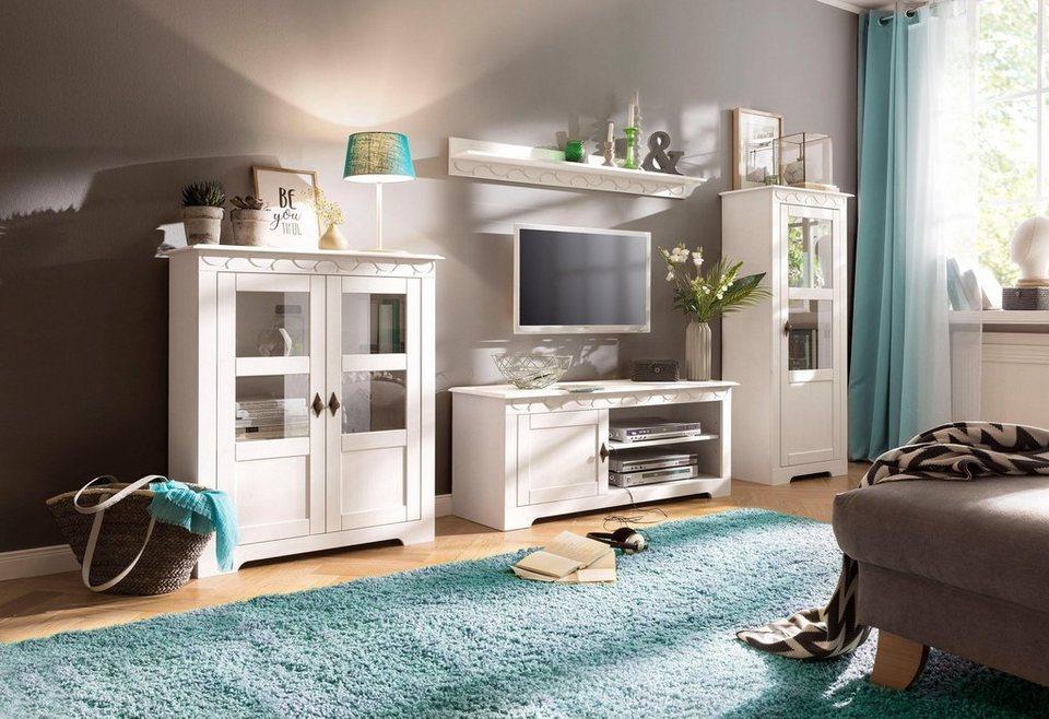 Home affaire 3 teilige wohnwand laura mit 1 vitrine 1 for Wohnzimmer vitrine dekorieren