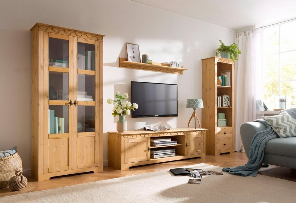 home affaire 4 teilige wohnwand laura mit 1 vitrine 2trg 1 tv lowboard 1 wandregal und 1. Black Bedroom Furniture Sets. Home Design Ideas
