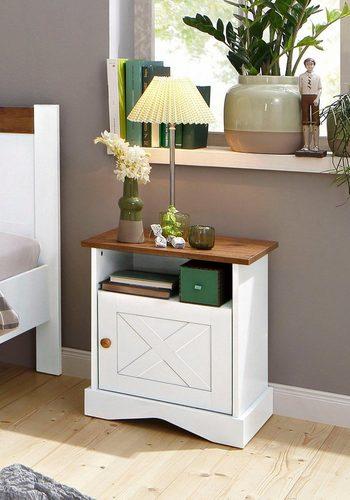 Home affaire Nachttisch Juliette, Breite 48 cm, zweifarbig in weiß/eichefarben braun  
