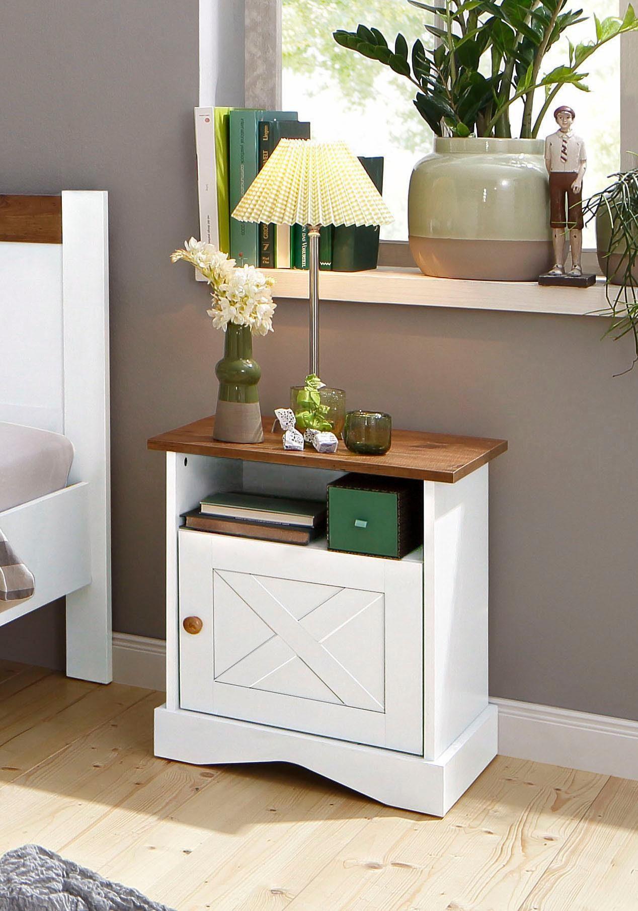 Home affaire Nachttisch »Juliette«, Breite 48 cm, zweifarbig in weiß/eichefarben