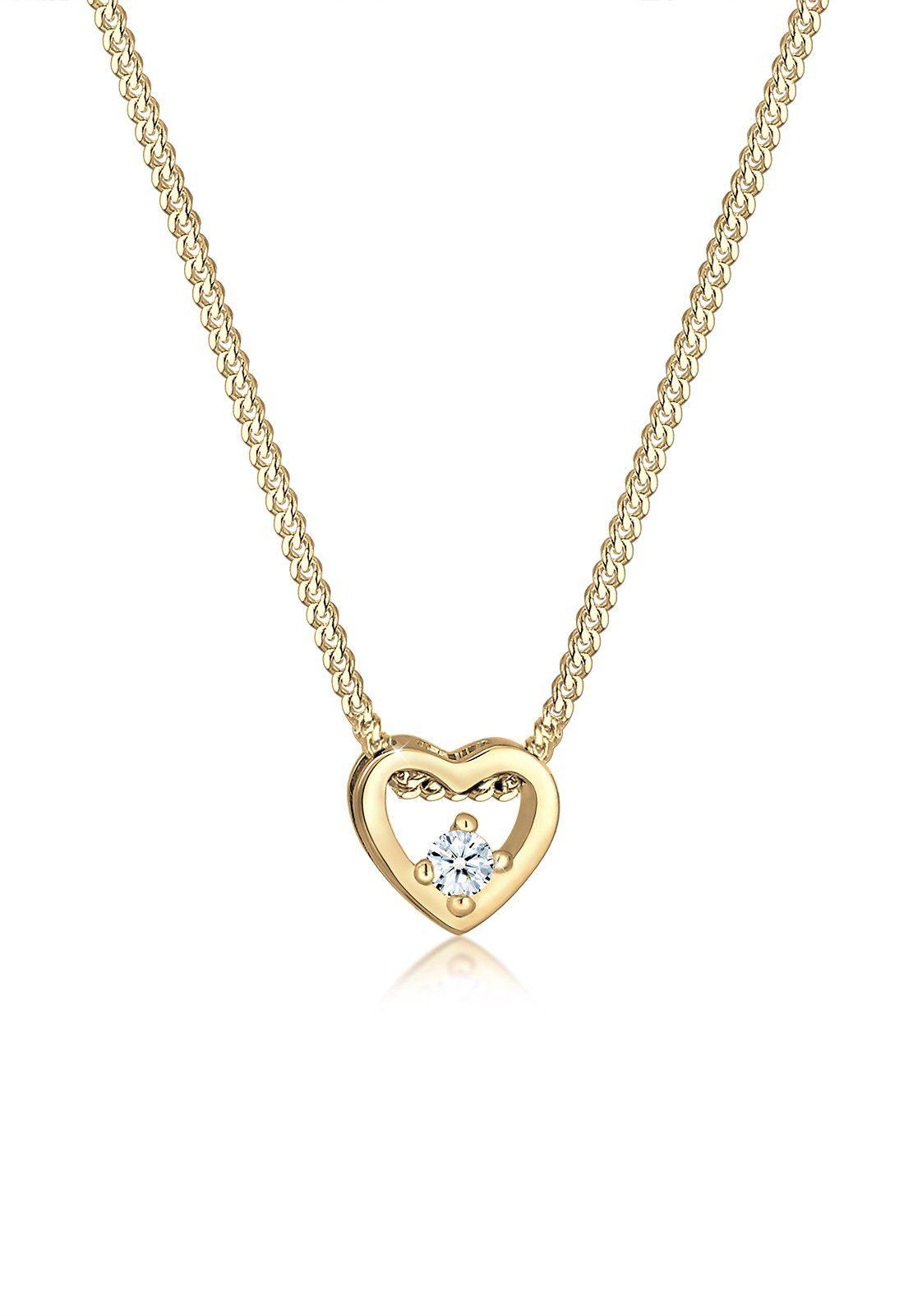 Diamore Halskette »Herz Liebe Edel Diamant (0.03 ct.) 585 Gelbgold«