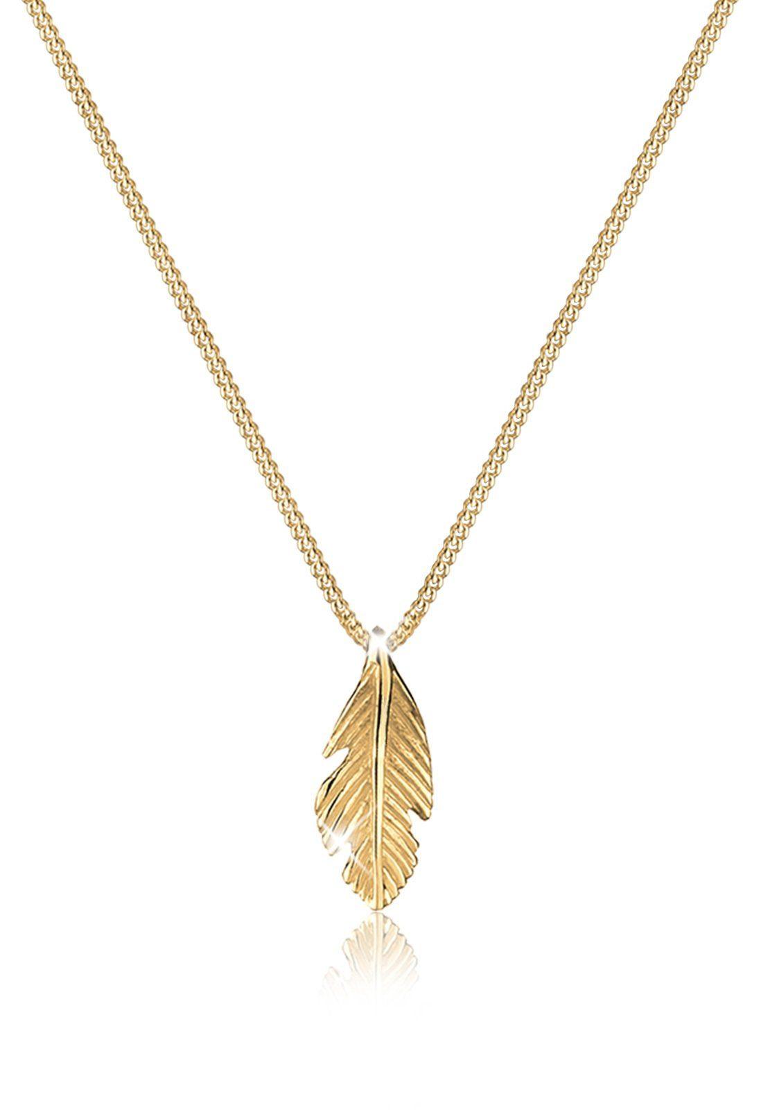 Elli Halskette »Feder Boho Look Luxuriös 585 Gelbgold«