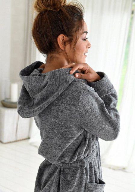 Damen Bench. Bademantel mit Kapuze und großen Taschen grau | 04250628342112