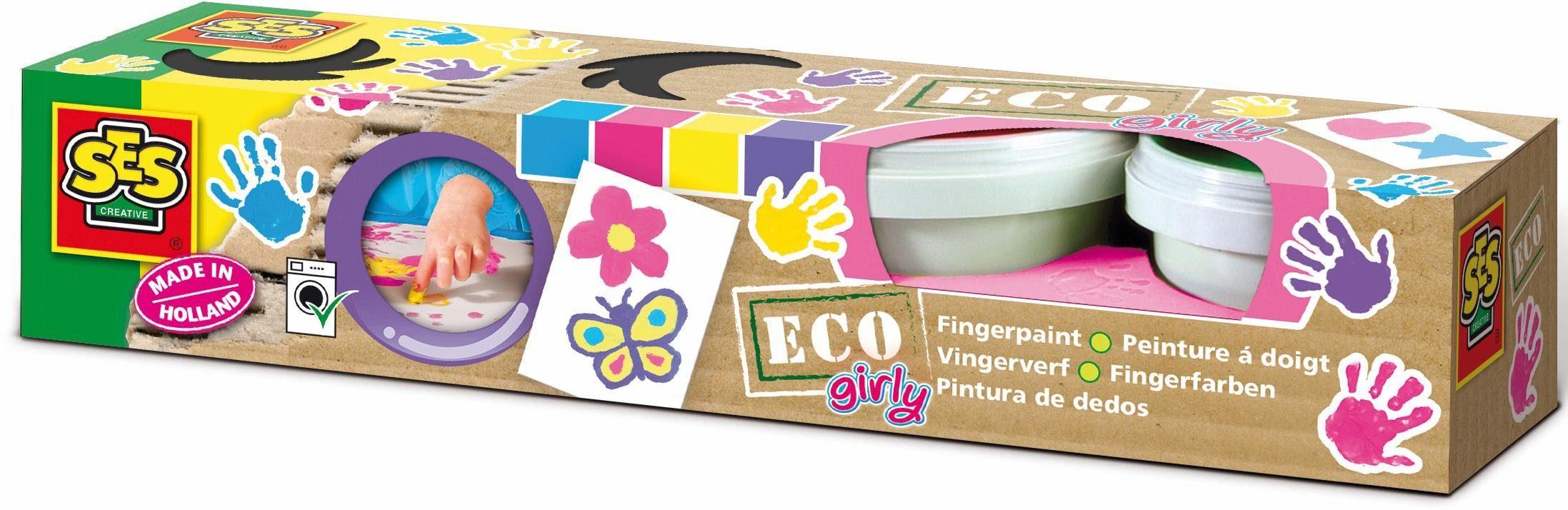 SES Creative Bastelset, »Fingerfarbe Eco Girly 4 Farben«