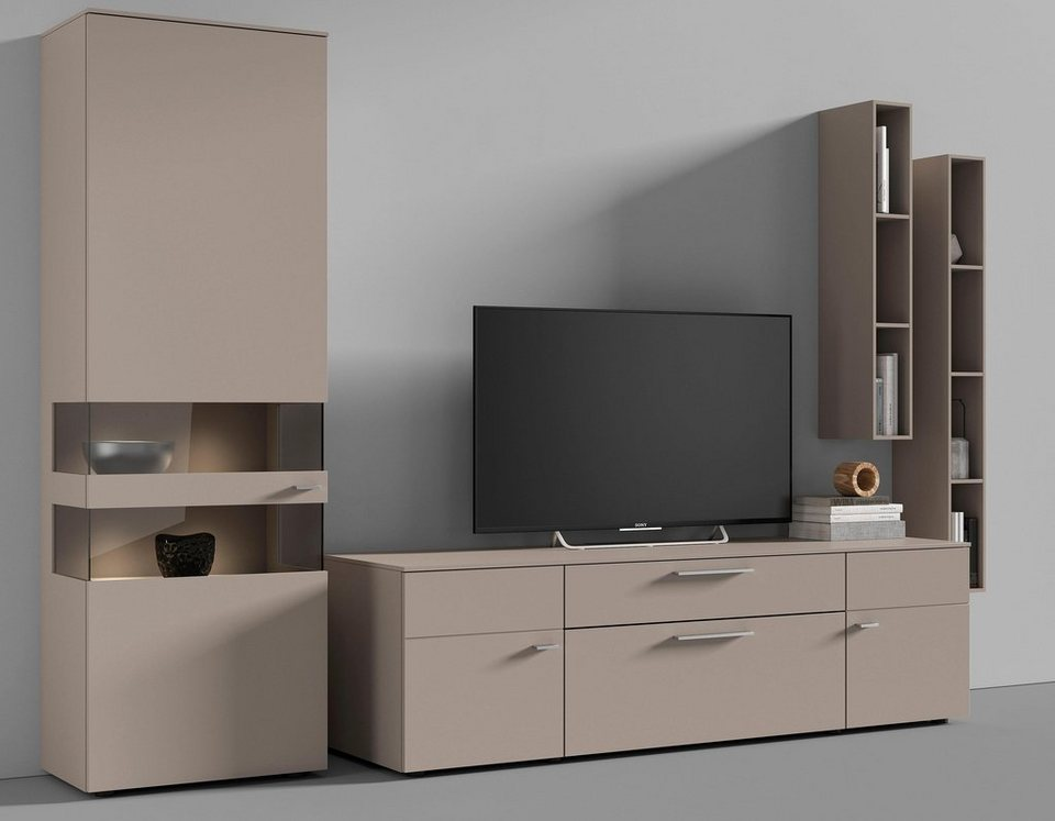netfurn by gwinner wohnwand anzio lack fango 4 tlg online kaufen otto. Black Bedroom Furniture Sets. Home Design Ideas