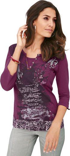 Alessa W. Shirt mit Druckmotiv und Glitzersteinchen-Verzierung