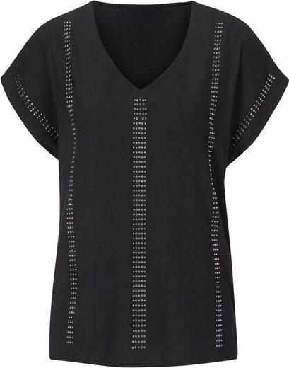 Création L Bluse mit Streifen aus silberfarbigen Ziersteinchen