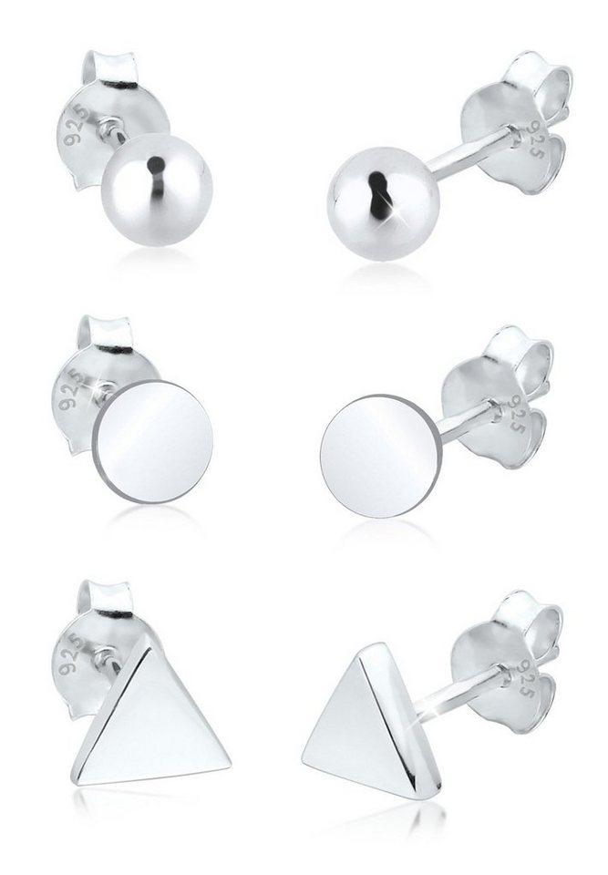 Elli Set: Ohrringe »3er Set Dreieck Kugel Kreis 925 Sterling Silber« 3 tlg. - Preisvergleich