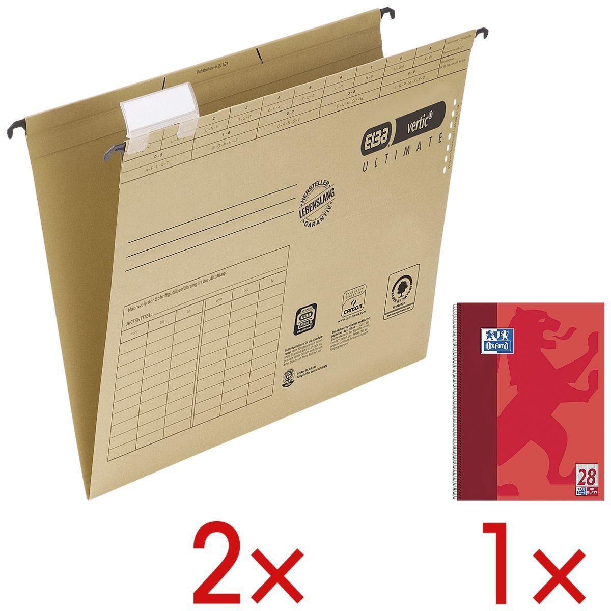 Elba 2er-Pack Hängemappen inkl. 1 Collegeblock »vertic ULTIMATE« 1 Set