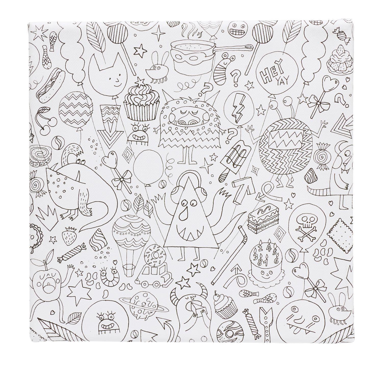 "Ausmal-Keilrahmen ""Tangle Monster"" 20 x 20 cm"