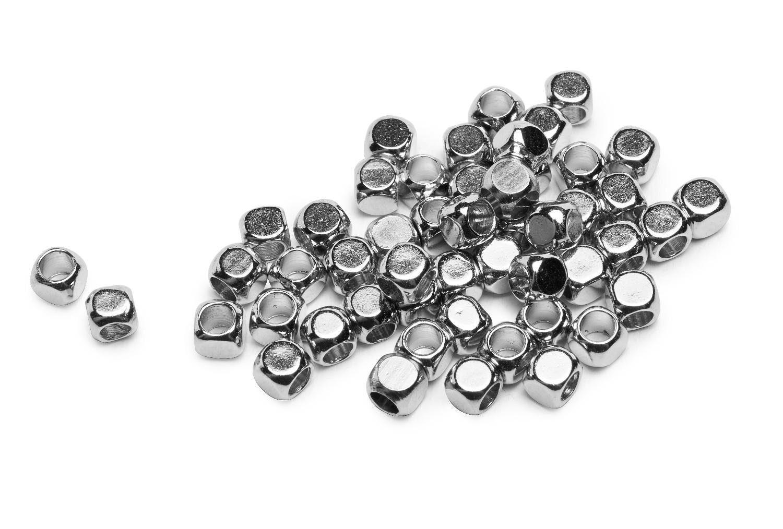 """Mini Metall-Perle """"Würfel"""", 50 Stück"""