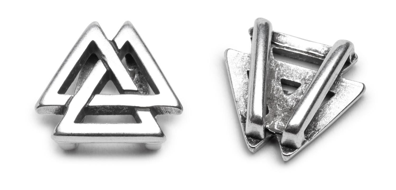 """Schiebeperle """"Dreiecke"""", 2 Stück, für Bänder 10mm breit"""