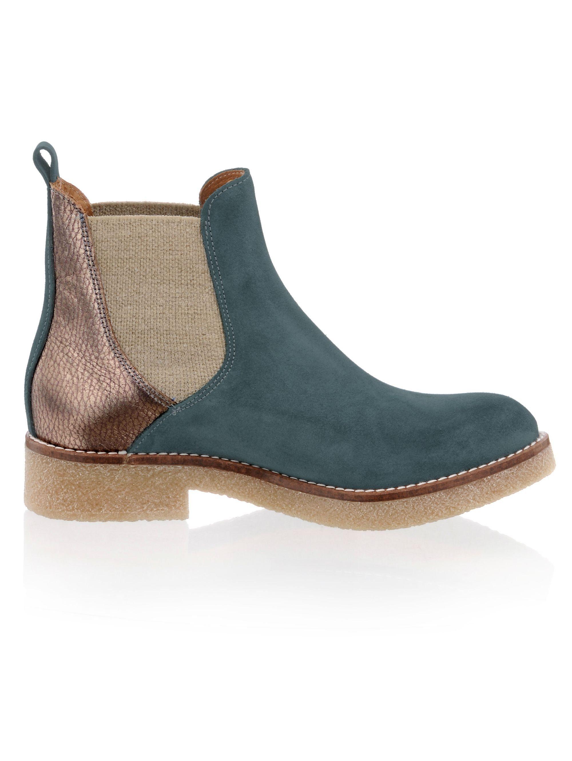 Alba Moda Chelsea-Boot in modischem Leder-Mix  petrol#ft5_slash#altsilber