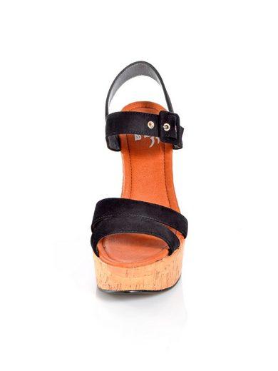 Alba Moda Plateau High Heel Sandalette aus weichem Ziegenleder