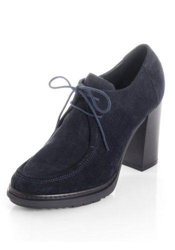 Damen Alba Moda Schnürpumps mit Blocksabsatz blau | 04055715339200