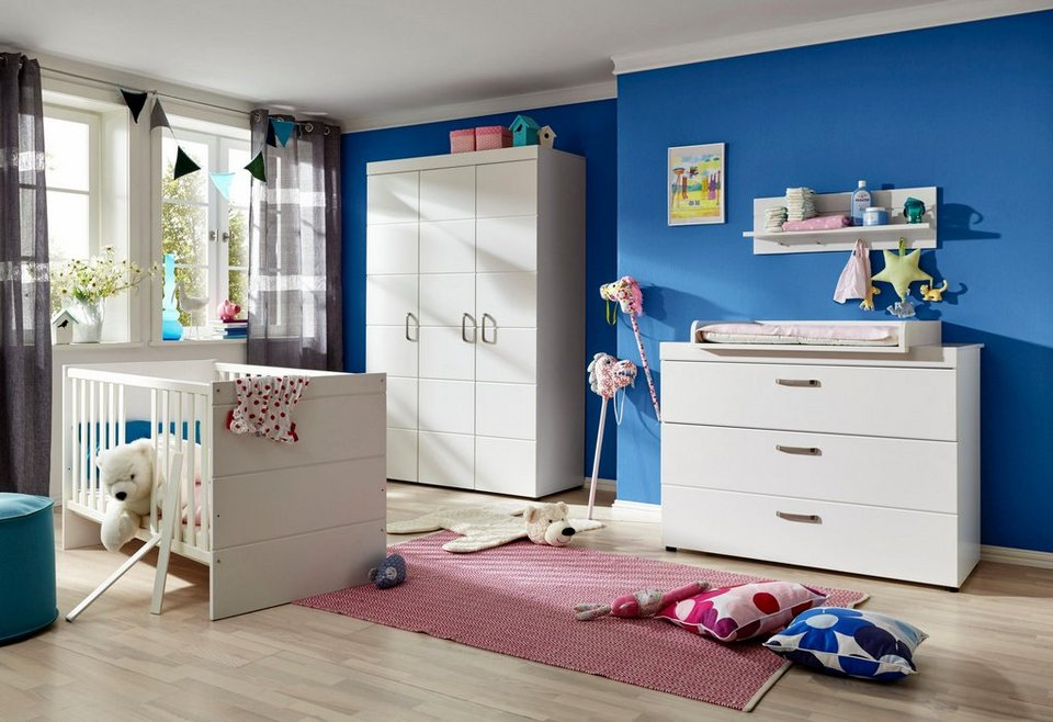 komplett babyzimmer dresden babybett wickelkommode kleiderschrank 3 tlg in wei matt. Black Bedroom Furniture Sets. Home Design Ideas