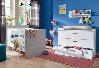 babyzimmer spar set dresden babybett wickelkommode 2 tlg in wei matt online kaufen otto. Black Bedroom Furniture Sets. Home Design Ideas