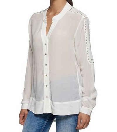 Replay Blusentop »REPLAY Freizeit-Bluse lässige Damen Trend-Bluse mit langen Armen Frühlings-Bluse Weiß«