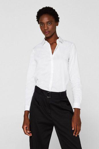 ESPRIT COLLECTION Basic-Stretch-Bluse aus Baumwoll-Mix