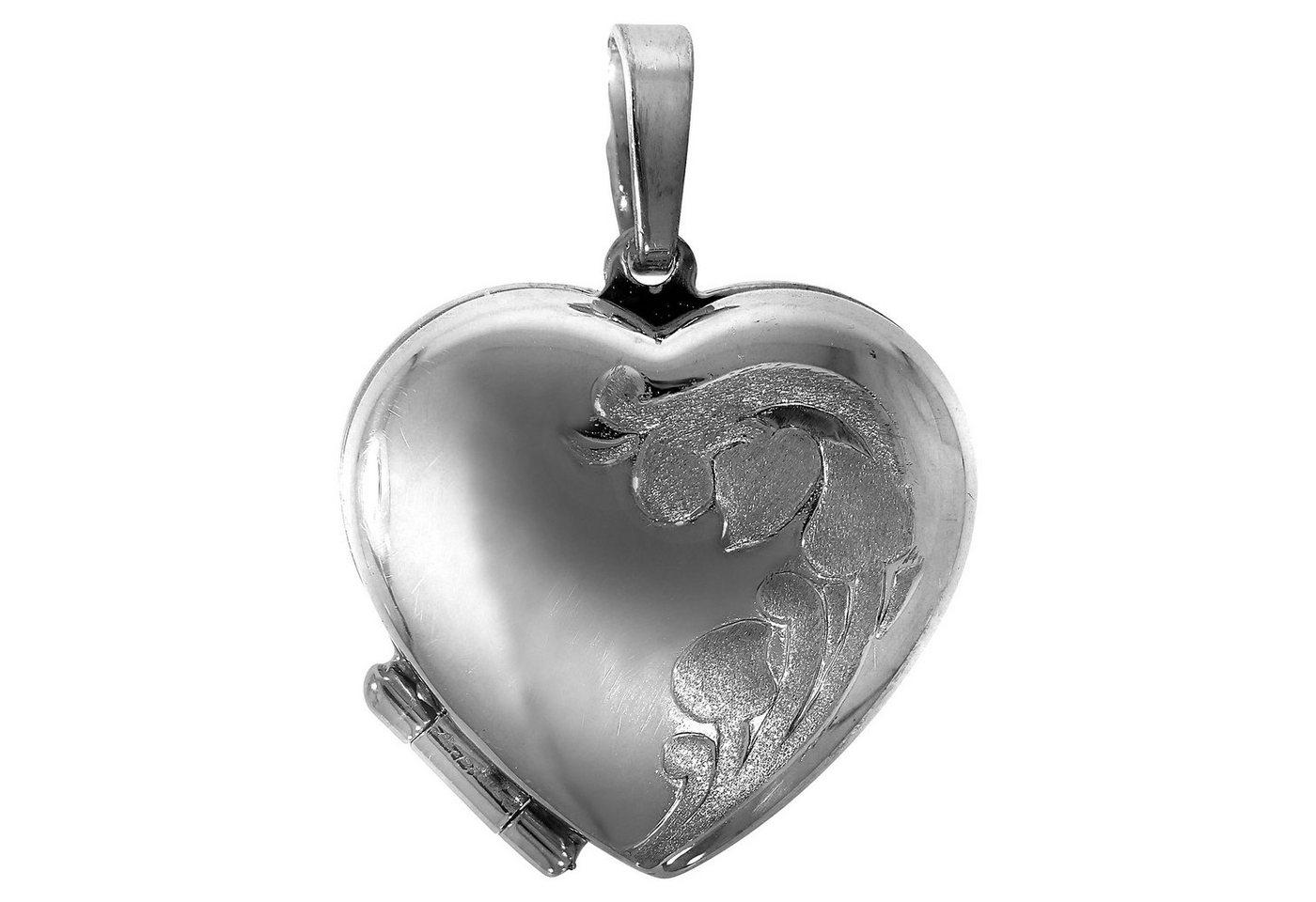 Firetti Anhänger »925/- Sterling Silber rhod Medaillon Herz« | Schmuck > Halsketten > Herzketten | Weiß | Firetti