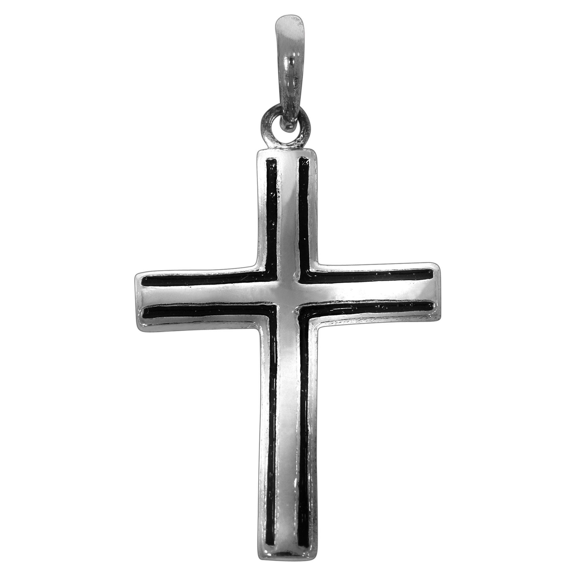 Firetti Anhänger »925/- Sterling Silber rhod. Kreuz sw Lack«