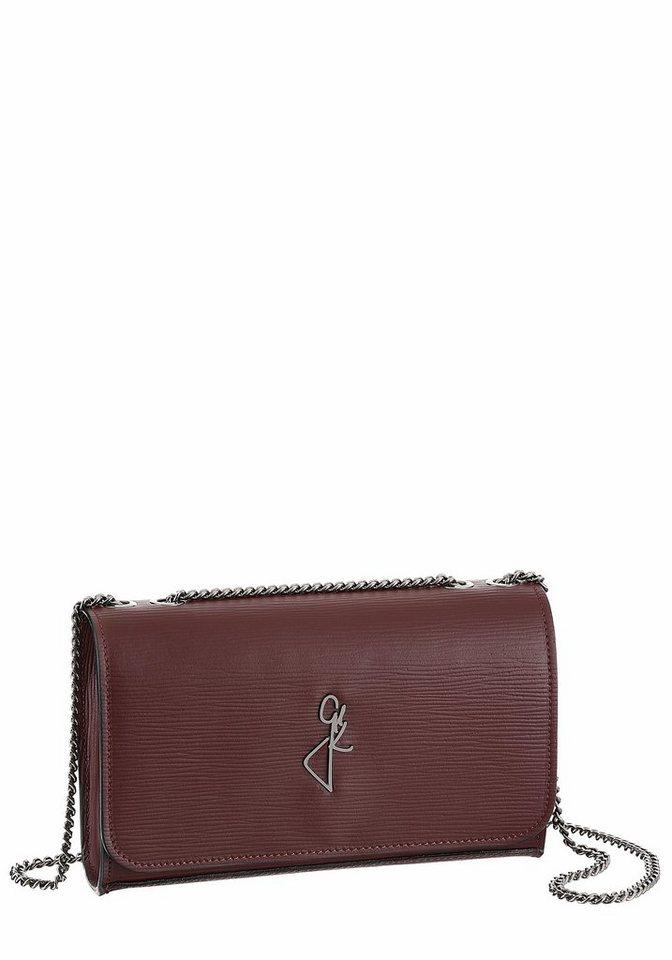 Damen GUIDO MARIA KRETSCHMER  Clutch aus strukturiertem Leder mit Umhängekette rot | 04036673188383