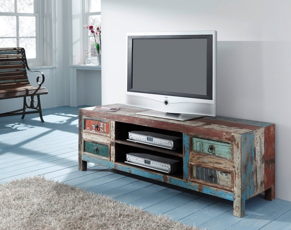 wolf m bel lowboard mit 4 schubladen aus recyceltem holz. Black Bedroom Furniture Sets. Home Design Ideas